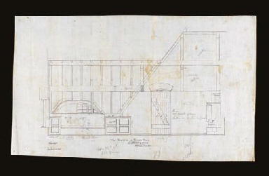 FIVE ARCHITECTURAL DRAWINGS IN