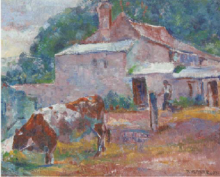 Cow in a farmyard