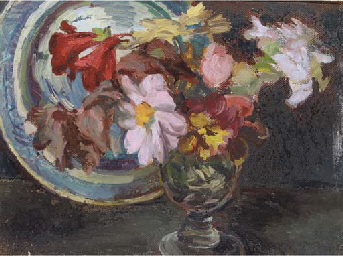 Still life with dahlias in a g