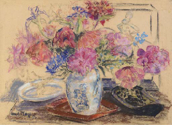 Flowers in a chinese pot; Iris