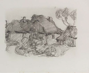 Farmhouses with group of peasa