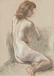 Seated female nude (verso); an