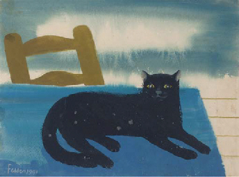 A black cat on the table