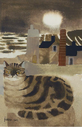 Seated tabby in a landscape