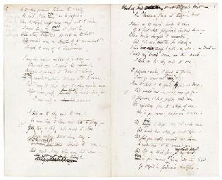 BROWNING, Elizabeth Barrett (1806-1861). Autograph manuscript of stanzas...