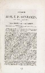 [CIVIL WAR]. BENJAMIN, Judah P