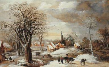 A winter landscape with a mule