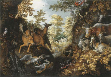 A stag, deers, herons, goats,