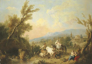 A landscape with peasants and