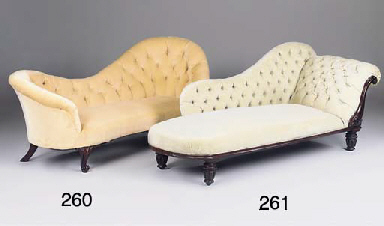 A Victorian upholstered and ma