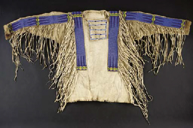 A PLAINS BEADED AND FRINGED H