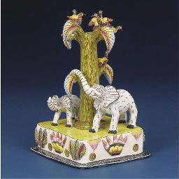 An elephant and bird candlesti