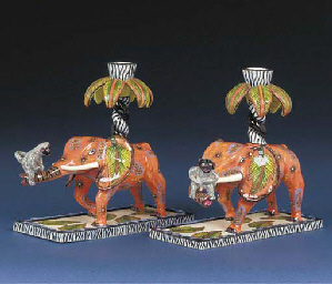 A pair of elephant candlestick