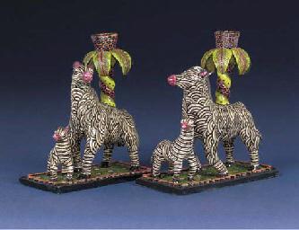 A pair of zebra candlesticks