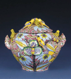 A leopard and bird tureen and