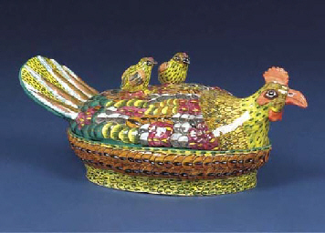 A chicken tureen and cover
