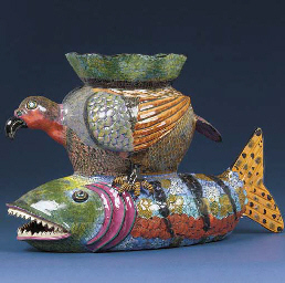 A fish and eagle vase