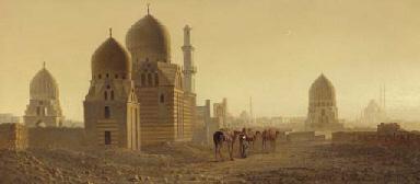 Tombs in a desert landscape
