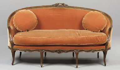 A LOUIS XV STAINED WALNUT CANA