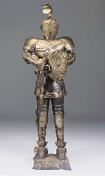 A SILVERED METAL SUIT OF ARMOU