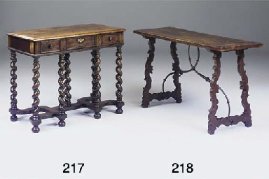 A SPANISH WALNUT AND OAK CENTR