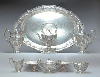 AN SILVER EIGHT-PIECE TEA AND