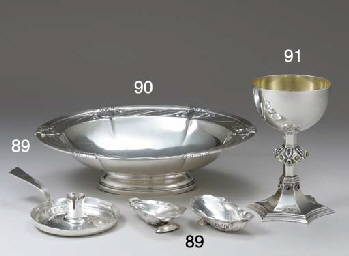 A SILVER AND STONE-SET CHALICE