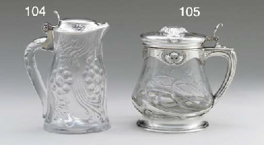 A SILVER-MOUNTED CUT-GLASS PIT