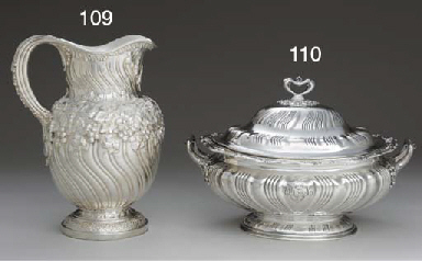 A SILVER SOUP TUREEN AND COVER