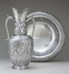 A SILVER EWER AND BASIN