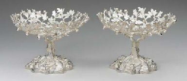 A RARE PAIR OF SILVER COMPOTES