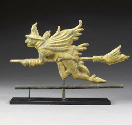 A CAST ZINC WITCH WEATHERVANE
