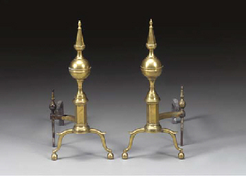 A PAIR OF FEDERAL BRASS STEEPL
