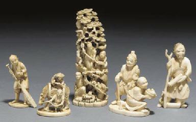A Japanese ivory netsuke of tw