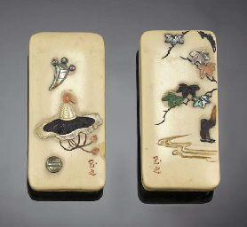 A pair of Japanese shibayama-s