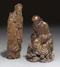 A Chinese bamboo carving of Sh