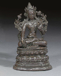 A Nepalese patinated bronze mo