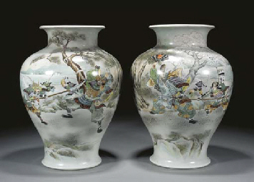 A pair of Japanese polychrome