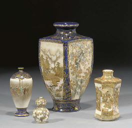 Four various Satsuma vases, 19