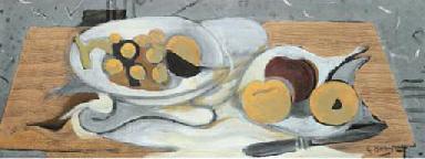 Compotier, fruits et couteau