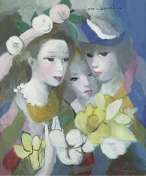 Trois femmes avec fleurs