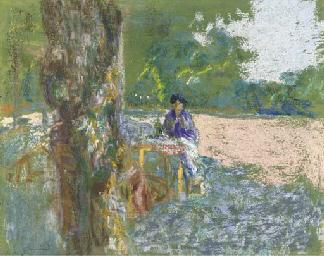 Jeune femme assise sous l'arbr
