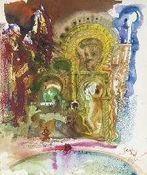 Scène dans un patio du harem