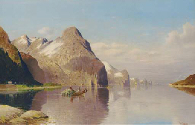 Rowing hay across the fjord