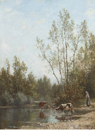 Watering cattle at the edge of