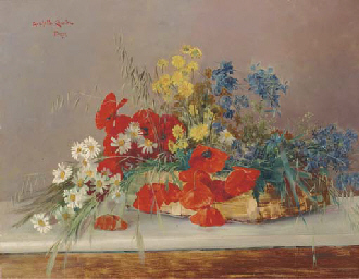 Poppies, daisies, grasses and