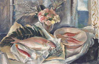 A still life of fish and flowe