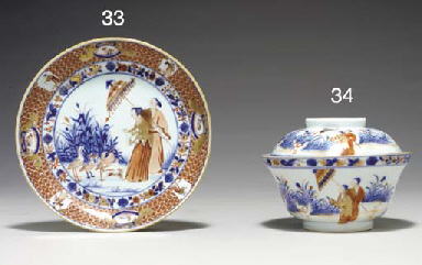 A 'DAME AU PARASOL' BOWL AND C