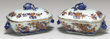 A PAIR OF SAUCE TUREENS AND CO