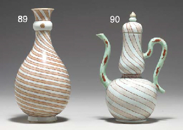 A RARE STRIPED EWER AND COVER